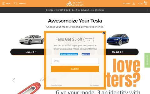 Screenshot of Home Page abstractocean.com - Accessorize your Tesla! - captured Dec. 9, 2018