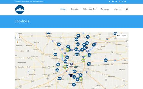 Screenshot of Locations Page goodwillindy.org - Locations - Goodwill Indy - captured Sept. 12, 2016