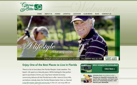 Screenshot of Home Page thevillagesofcitrushills.com - The Villages of Citrus Hills, Florida New Homes and Golf Community - captured Sept. 30, 2014