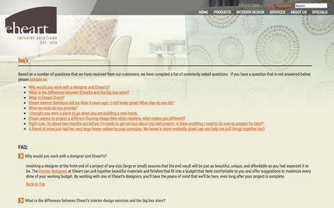 Screenshot of FAQ Page eheartdesign.com - FAQ's - Eheart Interior Solutions - captured Oct. 2, 2014