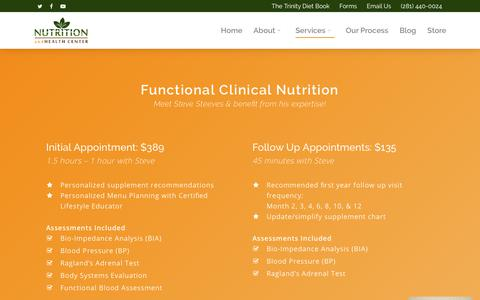 Screenshot of Services Page nutritionandhealthcenter.com - Services | Nutrition and Health Center - captured Sept. 21, 2018