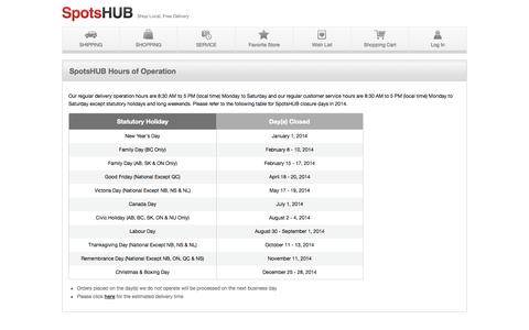Screenshot of Hours Page spotshub.com - SpotsHUB | Vancouver Express Delivery | Business eCommerce Solutions - captured Sept. 30, 2014