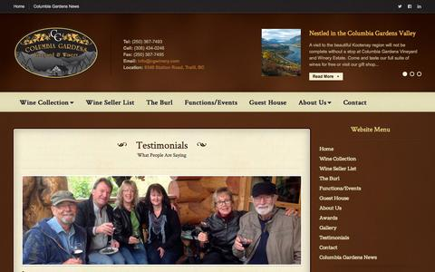 Screenshot of Testimonials Page cgwinery.com - Testimonials | (250) 367-7493 – Nested in the heart of the beautiful Columbia Garden Valley close to Trail, the first commercial sized vineyard and winery in the Kootenay region of British Columbia. - captured Oct. 2, 2014