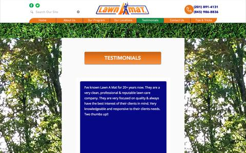 Screenshot of Testimonials Page lawnamat.net - Testimonials | Lawn A Mat | Our Clients Love Us! - captured July 16, 2018