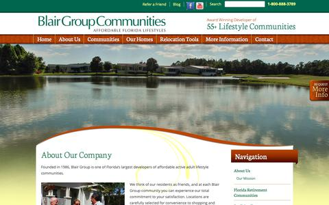 Screenshot of About Page blairflorida.com - Developers of Affordable Active Adult Lifestyle Communities - Blair Group - captured Dec. 18, 2018