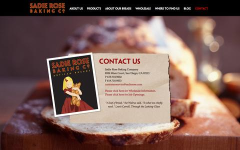 Screenshot of Contact Page sadierose.com - Contact | Sadie Rose Baking Co. – Wholesale Artisan Bread Bakery in San Diego - captured Oct. 4, 2014