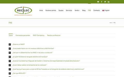 Screenshot of FAQ Page recilec.com - Preguntas frecuentes sobre gestión y reciclaje de RAEE | RECILEC - captured Nov. 12, 2017
