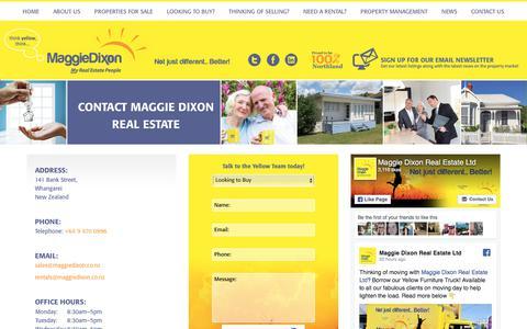 Screenshot of Contact Page maggiedixon.co.nz - Contact Maggie Dixon Real Estate Whangarei - captured Oct. 5, 2017