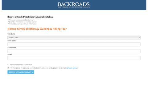 Screenshot of Landing Page backroads.com - MyBackroads - Detailed Itinerary - captured July 9, 2017