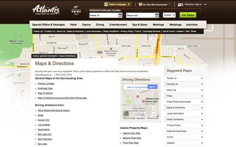 Screenshot of Maps & Directions Page atlantiscasino.com - Maps & Directions • Directions to Atlantis Casino, Driving Directions to Atlantis Reno, Reno Maps - captured Oct. 31, 2014