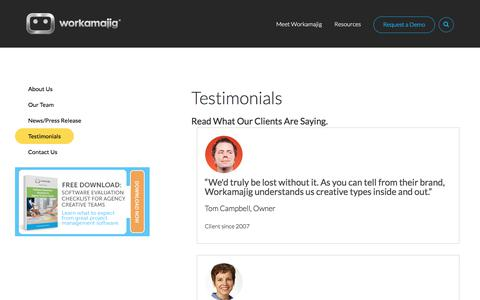 Screenshot of Testimonials Page workamajig.com - Workamajig Client Testimonials - captured March 22, 2018