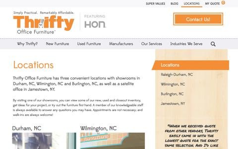 Screenshot of Locations Page thriftyofficefurniture.com - Locations   Thrifty Office Furniture - captured Sept. 30, 2014