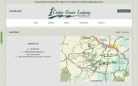 Screenshot of Contact Page Locations Page cedargrovelodging.com - Cedar Grove Lodging: Locations - captured Feb. 15, 2016