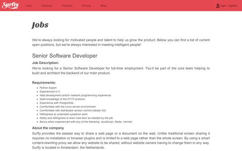 Screenshot of Jobs Page surfly.com - Surfly | Working at Surfly - captured Sept. 11, 2014