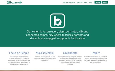 Screenshot of About Page buzzmob.com - BuzzMob - Education, Technology, Mobile - captured Dec. 4, 2015