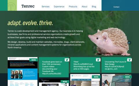 Screenshot of Home Page tenrec.com - Web Development and Management -- Tenrec, Inc. - captured Nov. 23, 2015