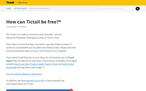 Screenshot of Pricing Page tictail.com - TICTAIL |            How can Tictail be free?* - captured Nov. 18, 2015