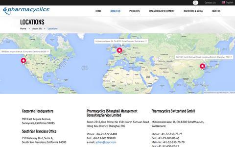 Screenshot of Locations Page pharmacyclics.com - Locations - captured Sept. 29, 2014