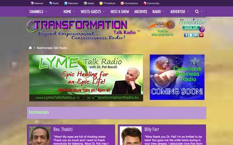 Screenshot of Testimonials Page transformationtalkradio.com - Transformation Talk Radio | Testimonials - Talk Radio - captured Jan. 21, 2016