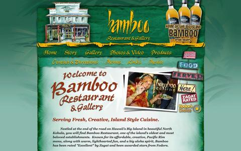 Screenshot of Home Page bamboorestaurant.info - Bamboo Restaurant and Gallery in Hawi, North Kohala on the Big Island of Hawaii - captured Oct. 13, 2015