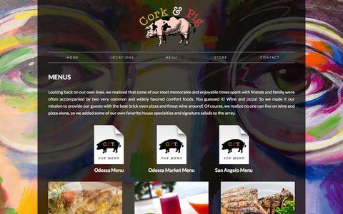 Screenshot of Menu Page corkandpig.com - Cork & Pig Tavern - captured Jan. 31, 2016