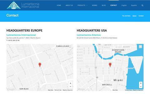 Screenshot of Contact Page lumiartecnia.com - Contact | Lumiartecnia Internacional - captured Sept. 19, 2017
