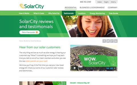 Screenshot of Testimonials Page solarcity.com - SolarCity Reviews - Residential Customer Testimonials | SolarCity - captured Oct. 10, 2014