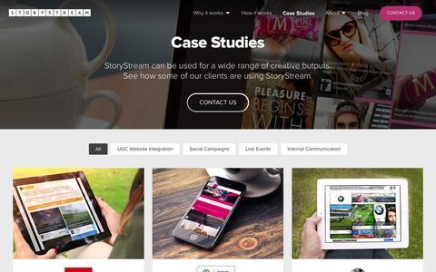 Screenshot of Case Studies Page storystream.it - StoryStream - Case Studies - captured Aug. 4, 2015