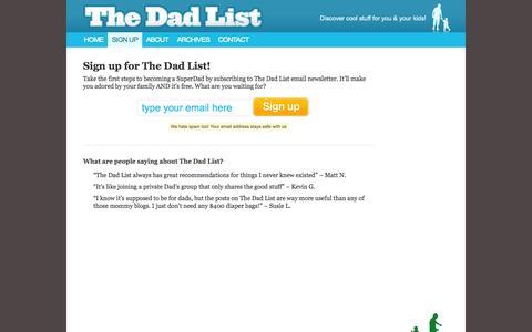 Screenshot of Signup Page thedadlist.com - Sign Up - captured Sept. 30, 2014