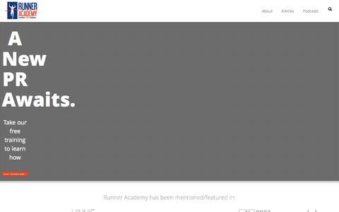 Screenshot of Home Page runneracademy.com - Runner Academy | 5K | 10K | Half-Marathon | Marathon | Training, Podcast and Online Running Coaching | Runner Academy - captured Oct. 1, 2015