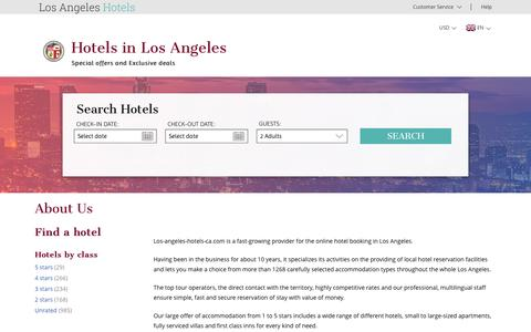 Screenshot of About Page los-angeles-hotels-ca.com - Los Angeles hotel reservation – los-angeles-hotels-ca.com – About us - captured April 8, 2017