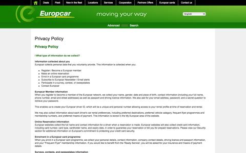 Screenshot of Privacy Page europcar.com.pl - Privacy Policy - captured Sept. 23, 2014