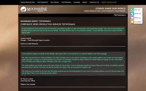 Screenshot of Testimonials Page moonshineagency.com.au - TESTIMONIALS - Moonshine Agency - captured Sept. 30, 2014