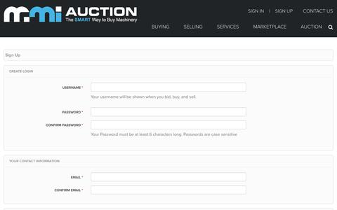 Screenshot of Signup Page mmi-direct.com - MMI-Auction - captured Jan. 29, 2018