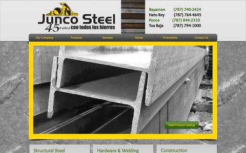 Screenshot of Home Page juncosteel.com - junco-steel - captured Oct. 6, 2014