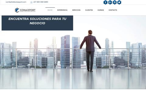 Screenshot of Home Page Menu Page conaxport.com - CONAXPORT CONSULTORES EMPRESARIALES - CONAXPORT CONSULTORES EN MARKETING Y NEGOCIOS INTERNACIONALES EN MEDELLIN - captured July 20, 2018