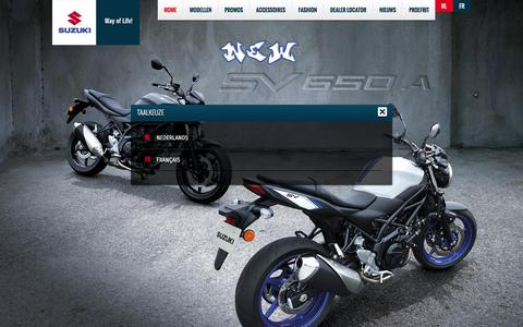 Screenshot of Home Page suzuki2wheels.be - Suzuki Belgie Motos, Scooter en ATVs | Suzuki - Way of Life! - captured Feb. 16, 2016