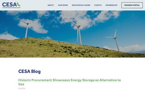 Screenshot of Blog storagealliance.org - Blog — California Energy Storage Alliance - captured Nov. 9, 2018