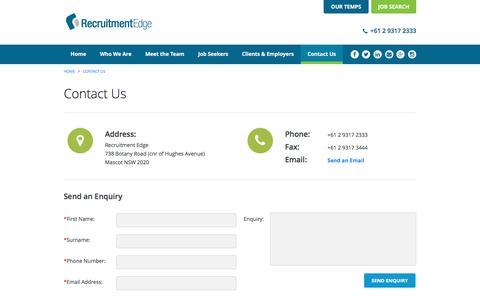 Screenshot of Contact Page recruitmentedge.com.au - Contact Us - Recruitment Edge - captured Jan. 13, 2016