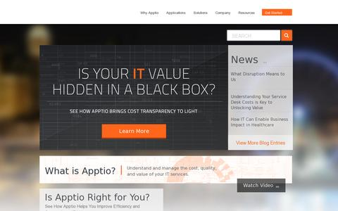 Screenshot of Home Page apptio.com - Apptio - IT Cost Transparency, Benchmarking, and Metrics - captured July 11, 2014