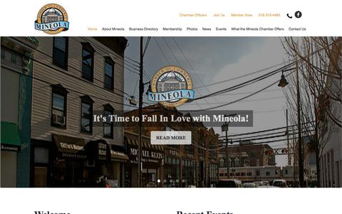 Screenshot of Home Page mineolachamber.com - Mineola Chamber of Commerce, Mineola, New York, 11501 - captured Oct. 23, 2017