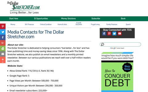 Screenshot of Press Page stretcher.com - The Dollar Stretcher - Media Contact - captured Sept. 25, 2018