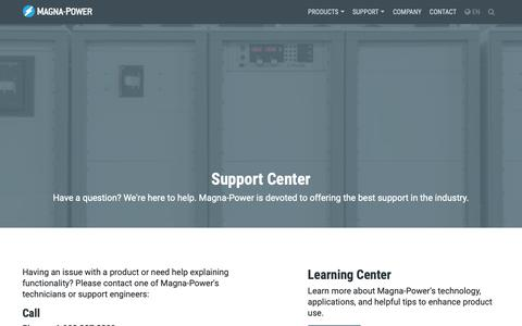 Screenshot of Support Page magna-power.com - Support Center | Magna-Power - captured Oct. 1, 2018