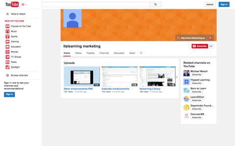 Screenshot of YouTube Page youtube.com - itslearning marketing  - YouTube - captured Oct. 22, 2014