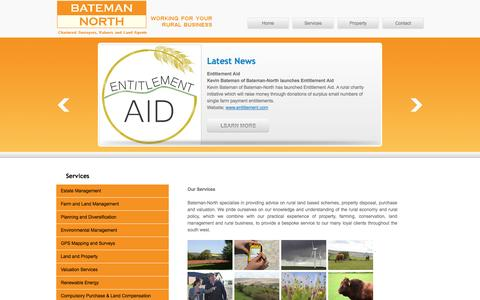 Screenshot of Services Page bateman-north.co.uk - Services Bateman-North Chartered Surveys, Valuer and Land Agents - captured Oct. 5, 2014