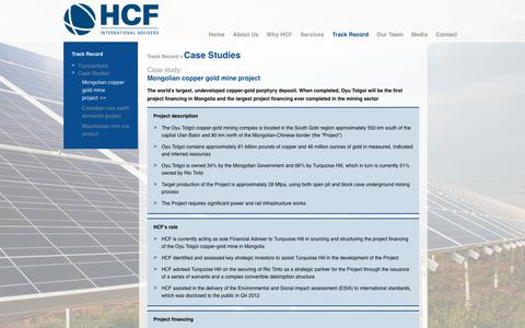 Screenshot of Case Studies Page hcfintl.com - Mongolian copper gold mine project | HCF International Advisers - captured Sept. 25, 2018