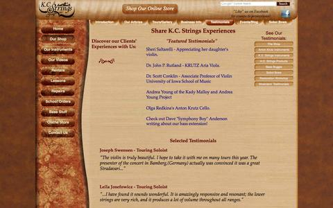 Screenshot of Testimonials Page kcstrings.com - Testimonials - Reviews | K.C. Strings Violin Shop - captured Oct. 6, 2014