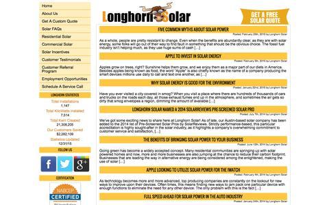 Screenshot of Blog longhornsolar.com - News and Info on Solar Systems and Installations | Longhorn of Texas | Longhorn Solar - captured Feb. 1, 2016