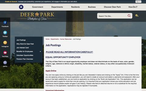 Screenshot of Jobs Page deerparktx.gov - Job Postings | Deer Park, TX - Official Website - captured Dec. 14, 2017