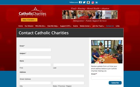 Screenshot of Contact Page ccfairfield.org - Contact Catholic Charities - Catholic Charities - captured Sept. 27, 2018